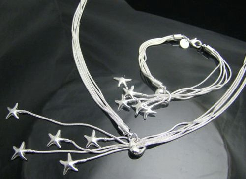 This Five-Star Charm 925 Sterling Silver Bracelet and Necklace look absolutely gorgeous.