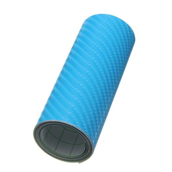 4x60 pulgadas azul película etiqueta engomada del coche abrigo de la fibra del carbón 3d de vinilo