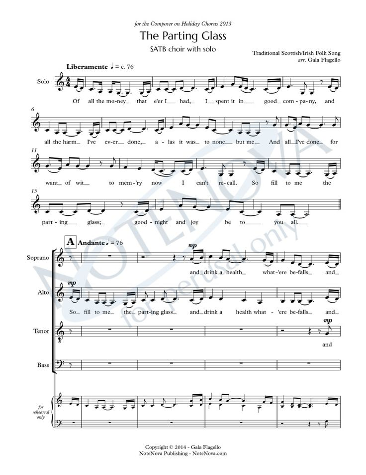 The Parting Glass For Satb Choir With Solo Notenova Partituren