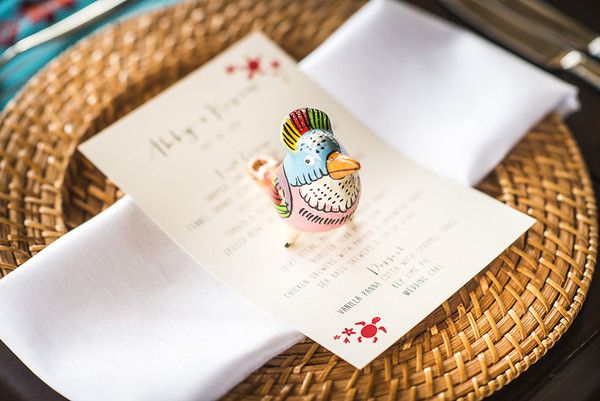 Beach wedding favor - hand-painted tropical bird whistles {Stories Wedding Photography Costa Rica}
