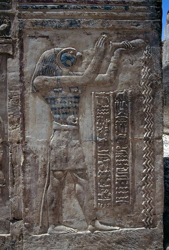 Relief with Horus pouring water, temple dedicated to Amun, Mut and Khonsu, Deir el-Hagar, Dakhla Oasis, Libyan Desert, Egypt, Egyptian civilization, Roman period, 1st century BC