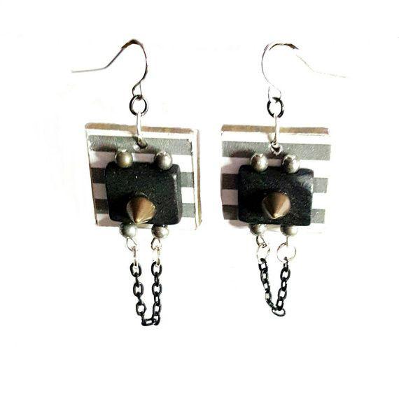 Steampunk Stripe Earrings by MysticTrinketShop.com
