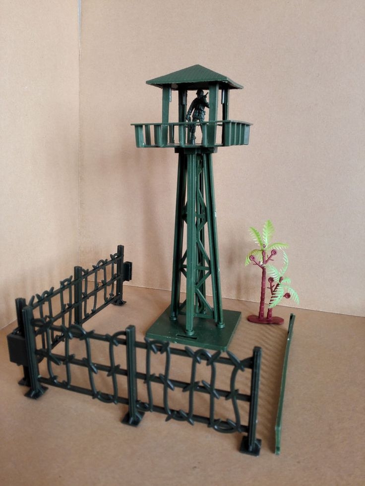 Military Watchtower Fence Tree Playset Toy Soldier Army Men Accessories  #not