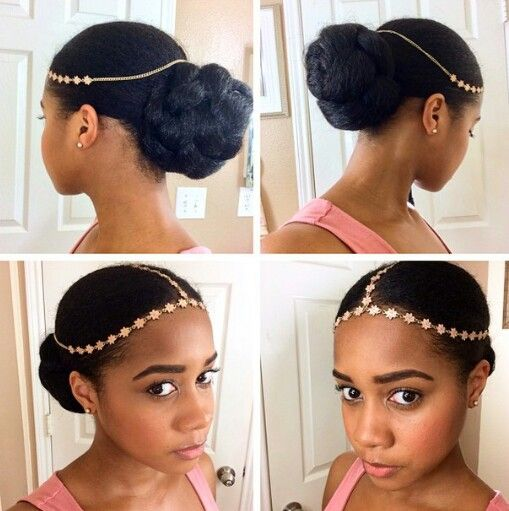 Low #bun with hair jewelry
