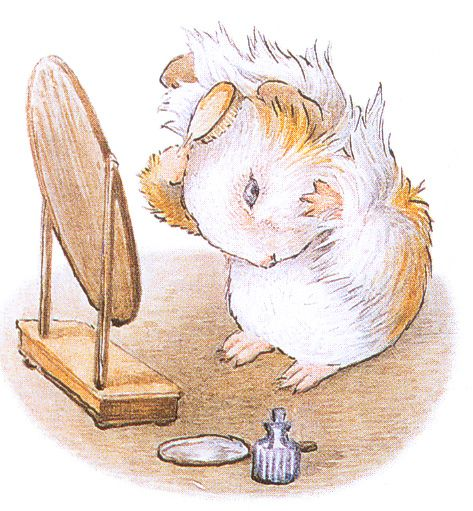 """From """"Appley Dapply's Nursery Rhymes"""" by Beatrix Potter, 1917 - """"There once was an amiable guinea-pig, Who brushed back his hair like a periwig. He wore a sweet tie, As blue as tthe sky - And his whiskers and buttons were very big."""""""