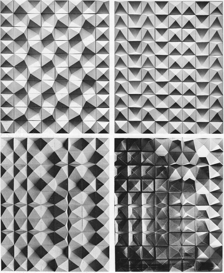 Handmade tiles can be colour coordinated and customized re. shape, texture, pattern, etc. by ceramic design studios - Students from MIT (Prof. R. Preusser)     Sculptural Tile Modules, 1960s