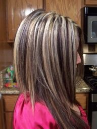 Chunky highlights for dark brown hair...doing this next time!! Just a little more blonde than I have now but so cute!!!