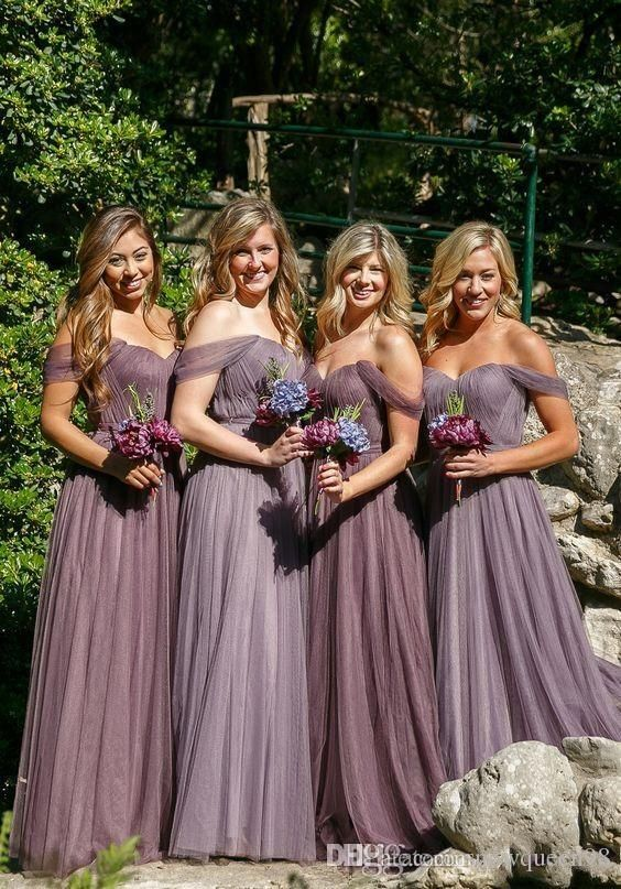 Trendy New Modest Bridesmaid Dresses Cheap Long For Wedding Guest Dress Tulle Off Shoulder Plus Size