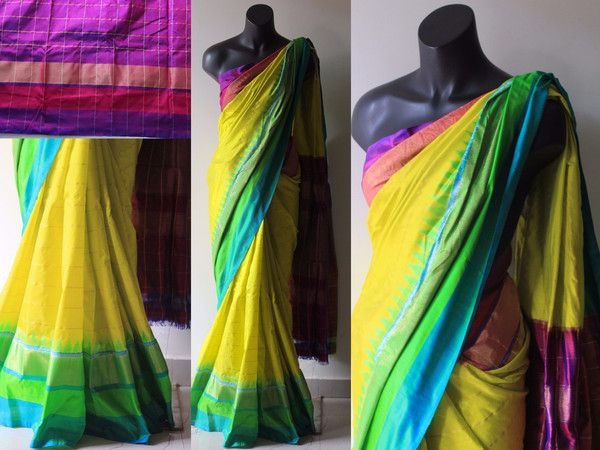 Lemon yellow Ikkat saree with temple border