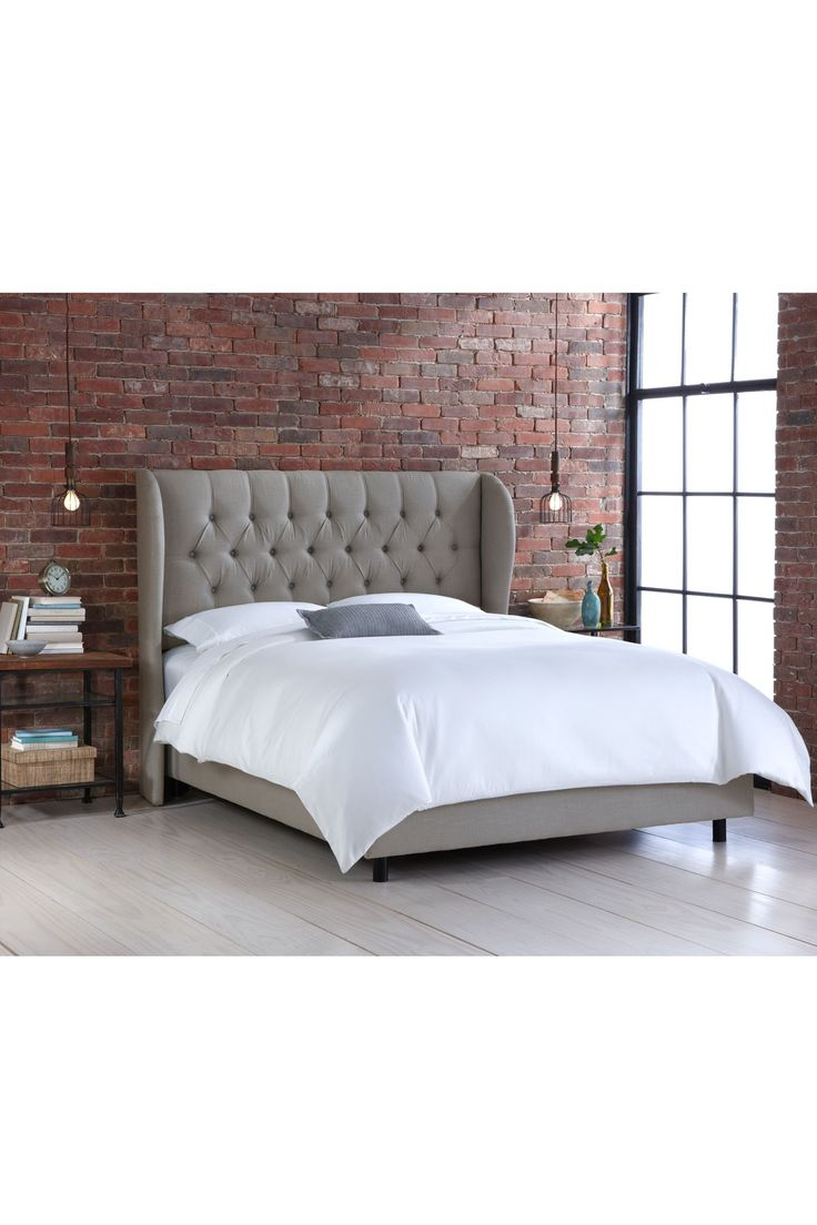 best wing back beds images on pinterest - tufted wingback bed  linen grey on hautelook