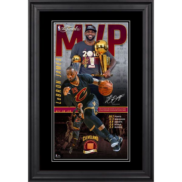 "LeBron James Cleveland Cavaliers Fanatics Authentic Framed 10"" x 18"" 2016 NBA Finals MVP Collage with Game 4 Finals Basketball - Limited Edition of 150 - $199.99"