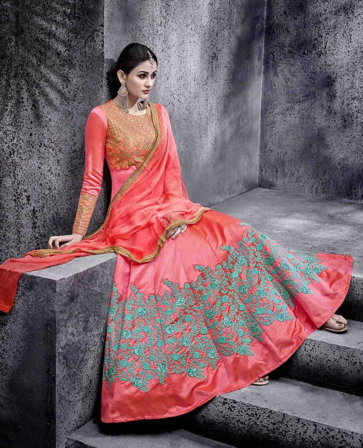 #Grey #Peach #Embroided #Switched #Anarkali #Wedding #Suits