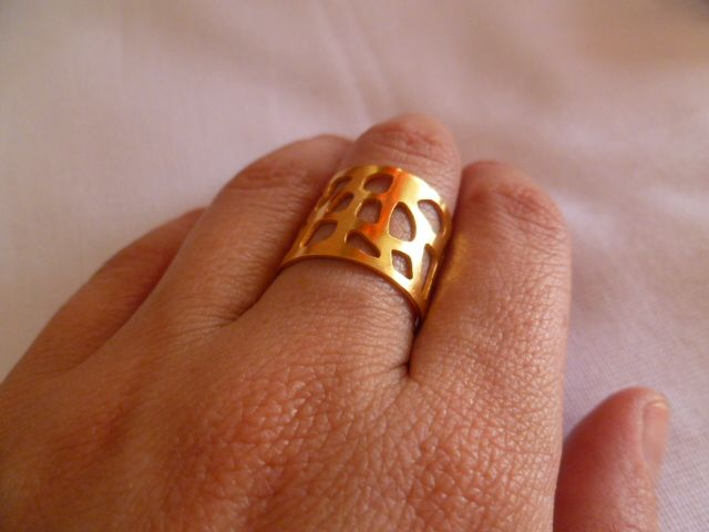 Ring isnpired by Gorgonia Coral, hand-made, 24 K, gold-plating.
