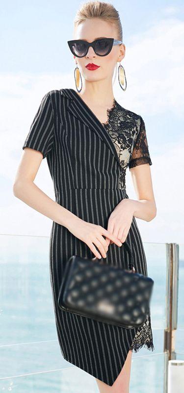 Work Stripe Lace Stitching V-Neck Irregular Hem Bodycon Dress