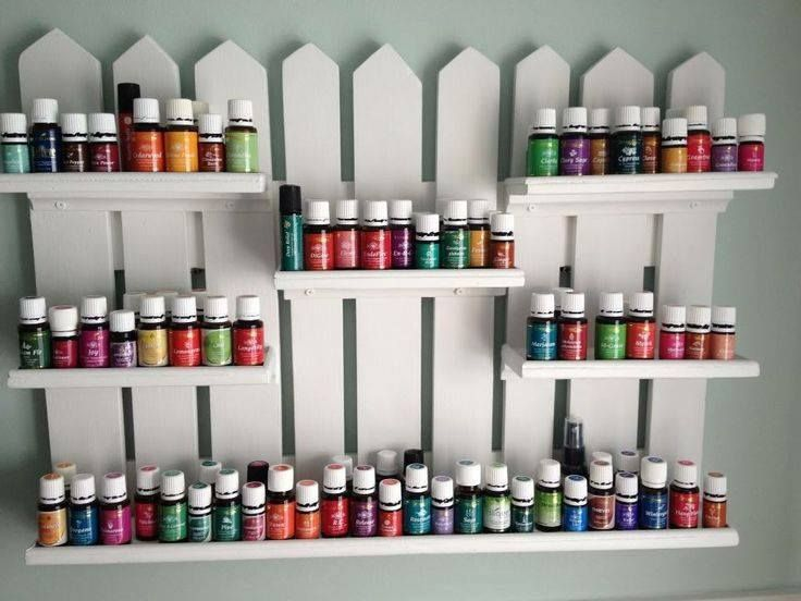 How cute! Great wall display for Young Living Essential Oils! I love this!