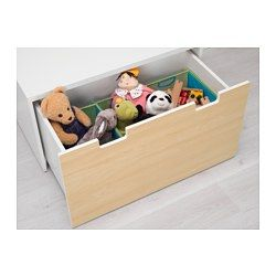 IKEA - STUVA, Storage bench, white/birch, , Low storage makes it easier for children to reach and organize their things.Stands evenly on an uneven floor; adjustable feet included.
