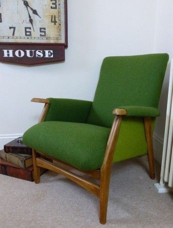 Anthony Divine Green Armchair - Anthony has worked his magic once again and transformed what was once a very sad, very brown looking chair into this classic Green Tweed Armchair thats now destined to stand the test of time. This Upcycled Chair is of mid century design and has been resprung and upholstered in grass green tweed wool. This stylish chair will be featured in Season 2 on Money for Nothing, BBC1 this April.