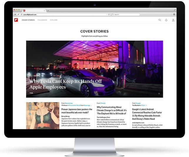 Flipboard, the popular news reading app for mobile, launched a web version on Tuesday. Get it! It's awesome!