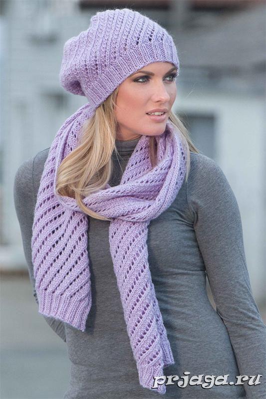 Вязание шапки и шарфа спицами