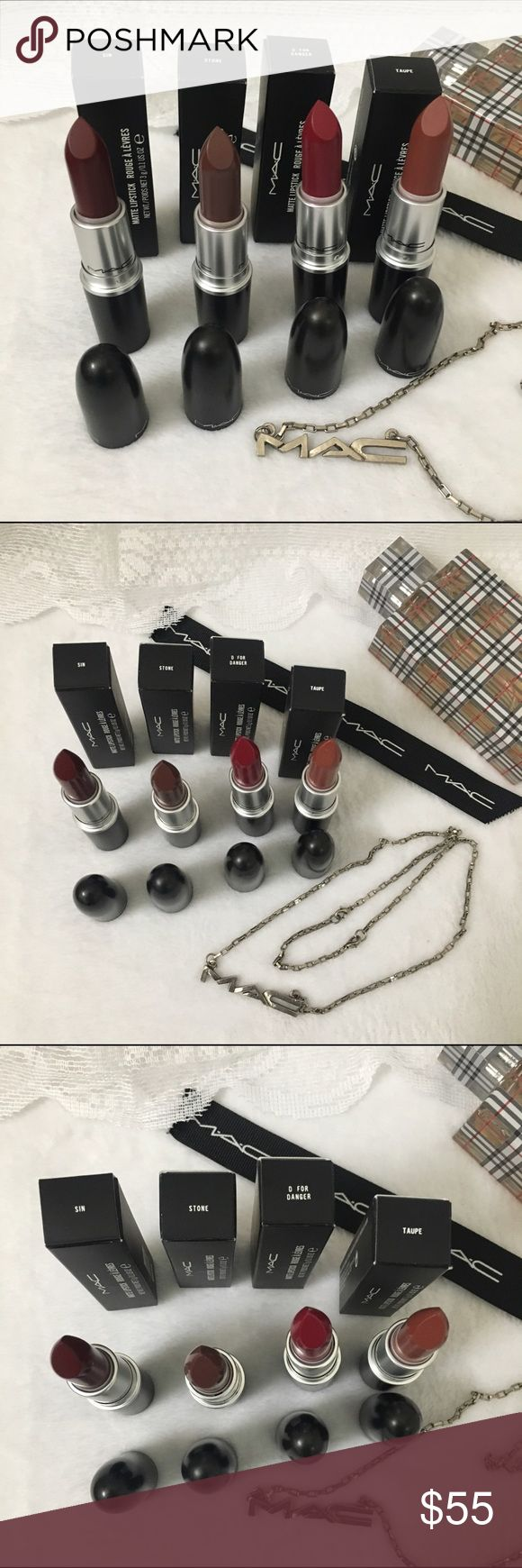 💋✨Mac Authentic Matte holiday winter color bundle Authentic matte lipsticks all BNIB . Colors are sin , stone, D for danger , Taupe . Not separating . I have separate listing for requests 😘✨✨✨✨💕👄👄❤️❤️❤️❤️ MAC Cosmetics Makeup Lipstick