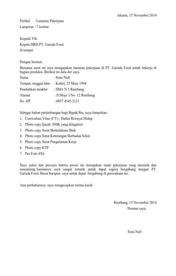 Contoh Surat Lamaran Kerja Cover Letter