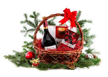 Cos cadou Craciun CMN16  Vin rosu JP Chenet 0.75l Davidoff Cafea 250g Merci bomboane 250g Iarba decor, funda, folie ambalare Cos rachita elegant  Pret: 109 lei + TVA