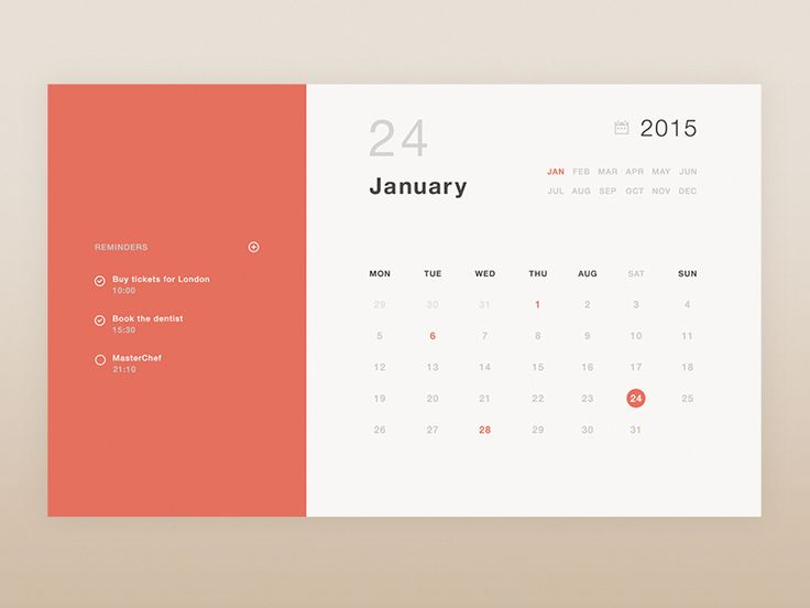 Just a little UI for a widget or a desktop app, of a very minimalistic calendar. As always, let me know what you guys think :D  PS: The inspiration to create an alternative calendar and making my o...