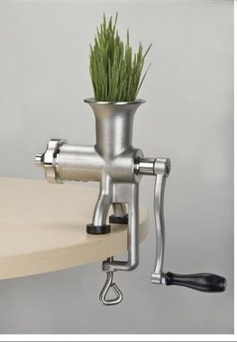 The Miracle Exclusives stainless steel manual wheatgrass juicer is efficient and easy to operate. The auger is modeled after our top-of-the-line commercial juicer. This revolutionary design eliminates