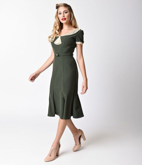 Exclusive Stop Staring! 1930s Deep Olive Green & Ivory Railene Dress