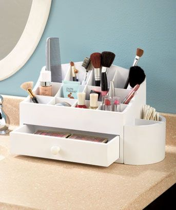 Getting ready is a breeze when you keep daily beauty products close at hand in this Wooden Makeup Organizer. This attractive console is designed to hold cosmetics, applicators, cleansers, serums and more. The top is divided into 12 compartments that