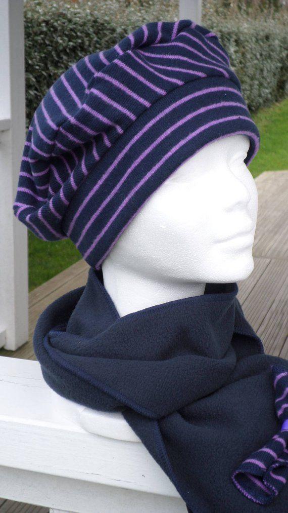 Bonnet chapeau béret turban  cravate écharpe  femme  confortable unique   hiver  rayé violet et bleu marine  lineva créateur collection hiver 5fd694c942f