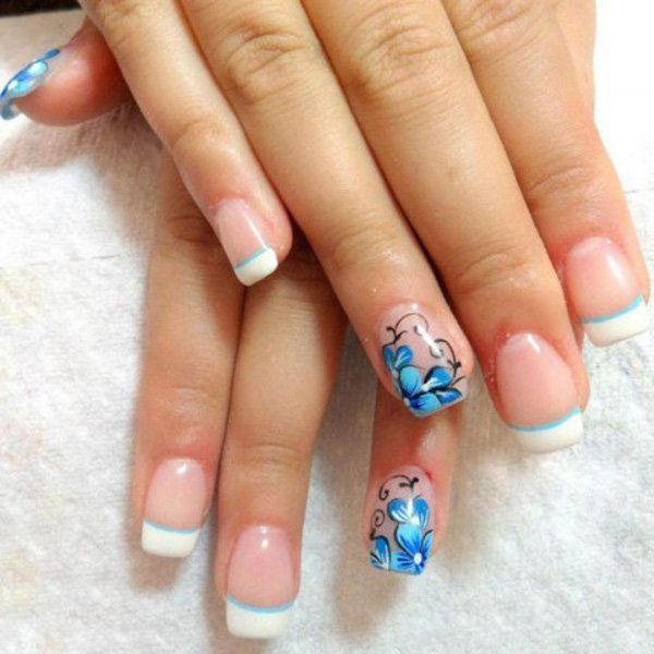 More on the simple and cute looking summer nails. Look at this lovely white French tip while the other nails are adorned with blue hibiscus flowers and topped with clear nail polish for more glow. The design looks pure and innocent and is perfect when you want to go for the look.