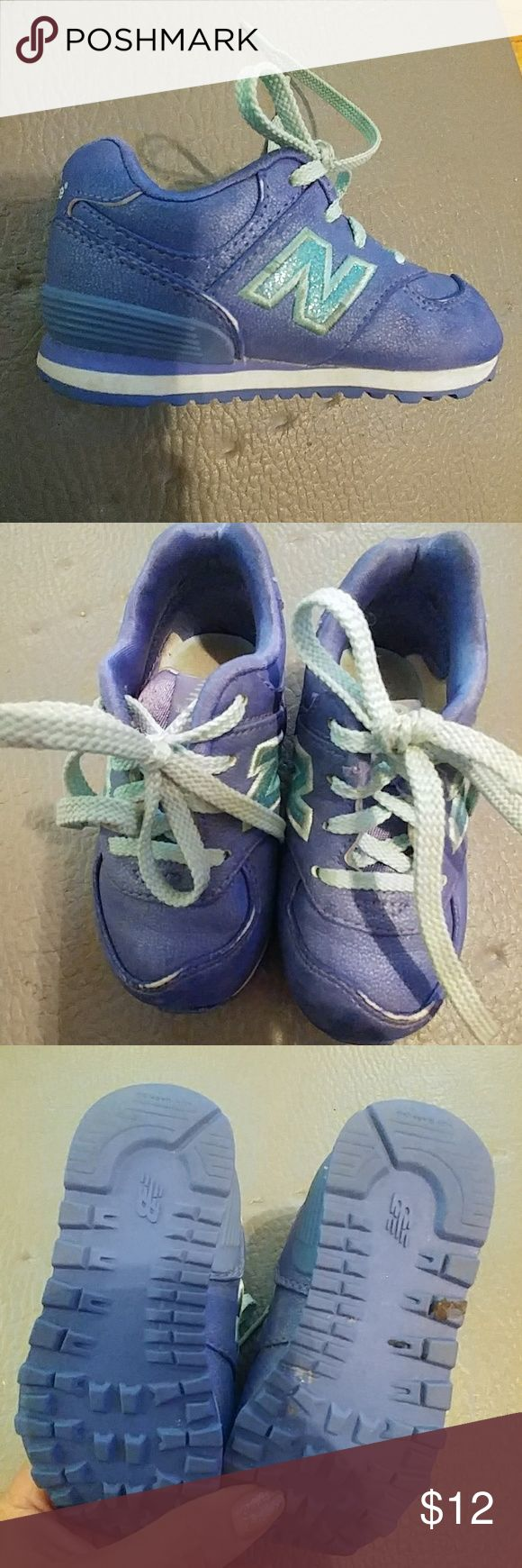 """Excellent New Balance 574 Size 6 lace-up sneakers Very much like new.  Just a little surface wear on front top part.  Wee bit of surface dirt inside. Glitter on """"N"""" New Balance Shoes Sneakers"""