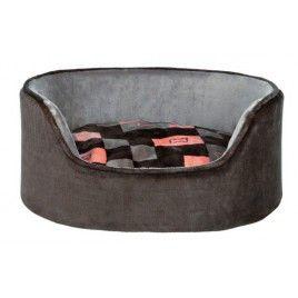 Pelech oválný plyšový CURRITO šedý/losos 100x75 cm