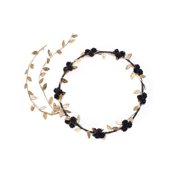 Black and Gold Flower Crown, Black Flower Crown, Gold Headband,... ($14) ❤ liked on Polyvore featuring accessories, hair accessories, black flower crown, rose gold headband, flower garland, bridal flower crown and rose flower crown