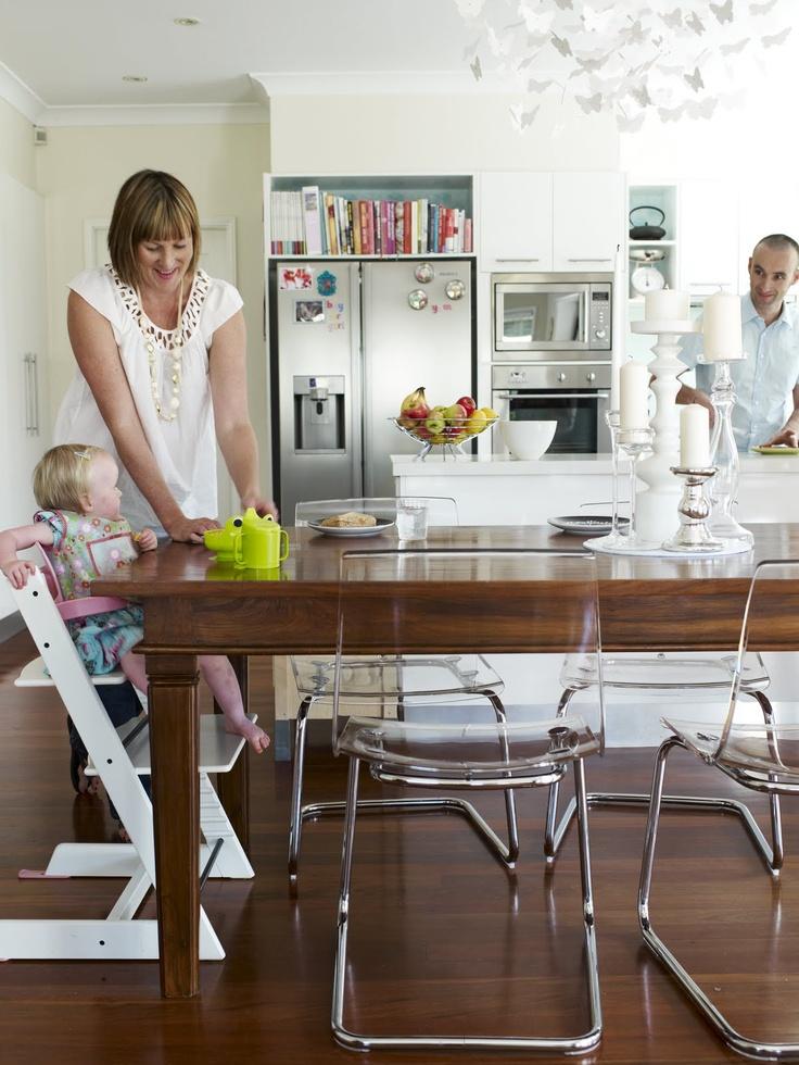 Ikea styled kitchen #ikea, #kitchen I like how the cabinet w. cookbook shelf is built around the fridge.