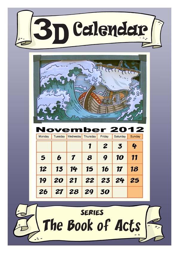 Maak een 3D plaatje van een boot in de storm: Paulus reis naar Rome (Handelingen 27). Te printen in kleur of zwart/wit. Gratis. // Make a 3D picture of a boot in the storm: Paul's journey to Rome (Acts 27). Free printable in color or B/W. Can also use as Calendar for November 2012. Cut calender part off for craft only.