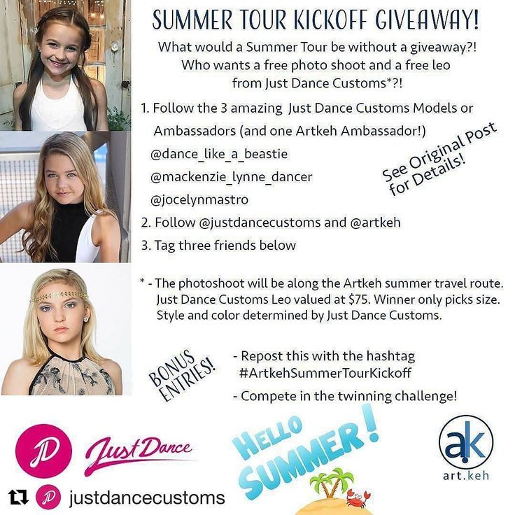 Summer fun from @justdancecustoms and @artkeh #Repost @justdancecustoms (@get_repost)  #Repost @artkeh (@get_repost)  What would a summer tour be without a giveaway? Who wants a free photo shoot and a free leo from Just Dance Customs? Then follow the rules! Winner selected on July 1st! Entry deadline June 30th at midnight EDT. . 1. Follow all 3 amazing Just Dance Customs models or ambassadors (and 1 Artkeh Ambassador) @dance_like_a_beastie @mackenzie_lynne_dancer @jocelynmastro . 2. Follow…