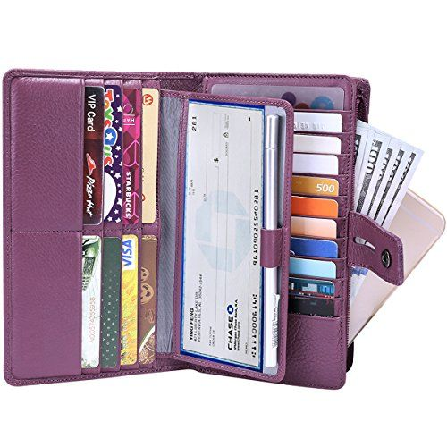 19 Card Slots RFID Wallets for Women Soft Genuine Leather Wallets Fashion Ladies Card Purse Burgundy