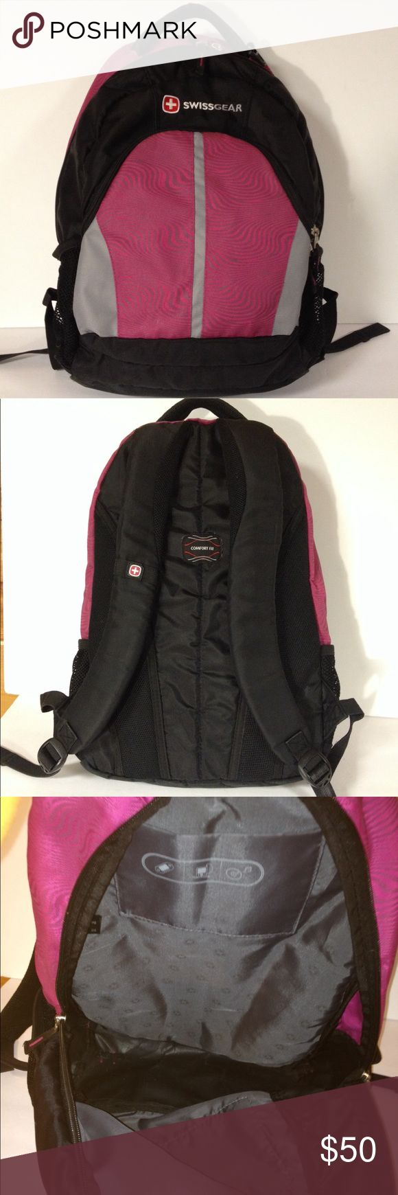 "Swissgear black pink backpack Good clean condition.  Smoke free.  No rips or stains. Normal use bag.  Please see pics. Bag is about 15"" wide and 17"" tall SwissGear Bags Backpacks"