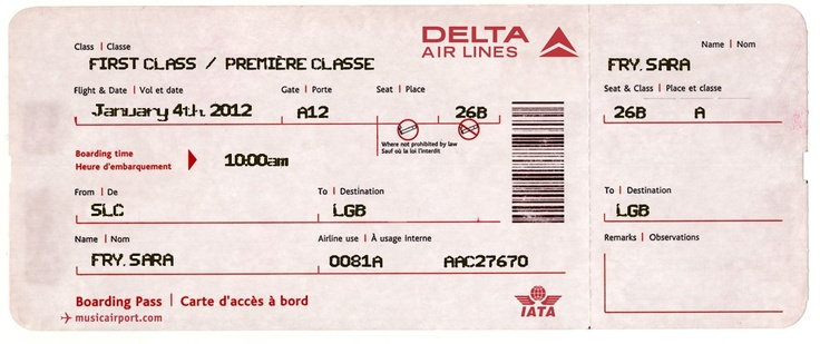 """Fake Airline Ticket for surprising kids!  I'm using this website to make the plane tickets for our Christmas Disneyland Trip, since you can't get """"real"""" boarding passes anymore until you check in.  :)  Love it!  The website is www.omatic.musicairport.com"""