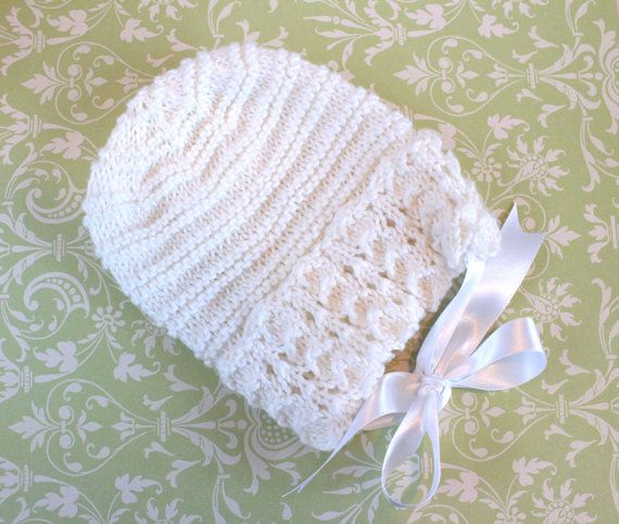 White Baby Bonnet White Baby Hat Traditional Baby by Pinknitting