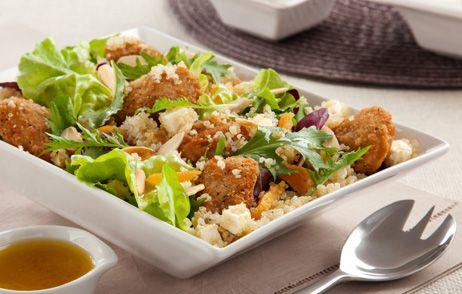 Salada de Quinua e Iscas de Frango ao Molho de Laranja