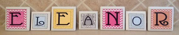 wood letter blocks, personalized/custom baby name letters, baby gift, girl nursery decor, name letters, kid /child wall art, pink, white on Etsy, $11.00