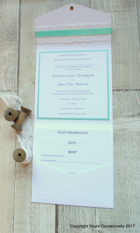 mini book wedding invitations uk%0A Lace it Up Pocketfold Invitation