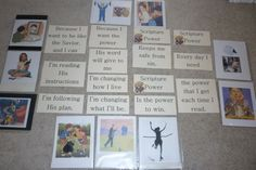 """""""Scripture Power"""" Song Teaching Idea Preparation: Print the Scripture Power pictures and wordstrips. Put the pictures into page protectors. Obtain pictures of the following scriptu…"""