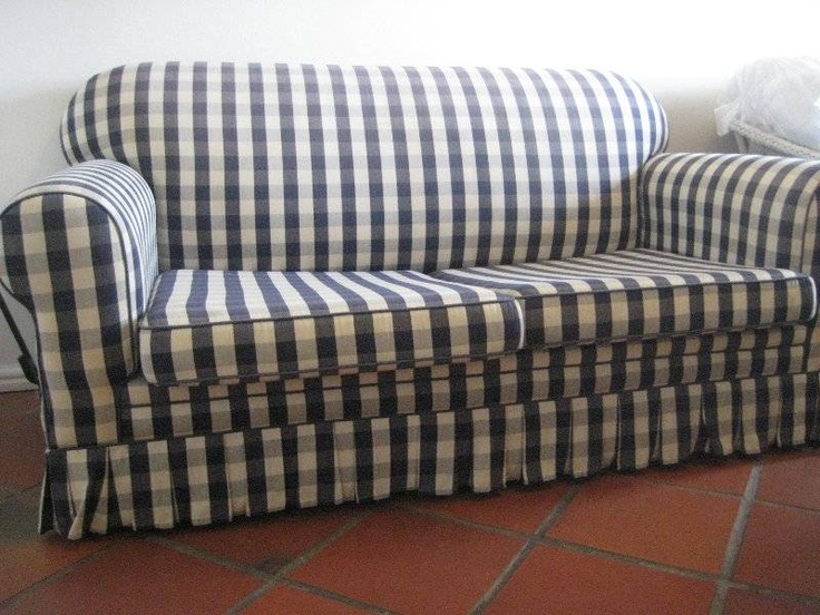 Blue And White Checkered Couch | Blue Checked Biggie Best Sleeper Couch - furniture - Stuff for Sale