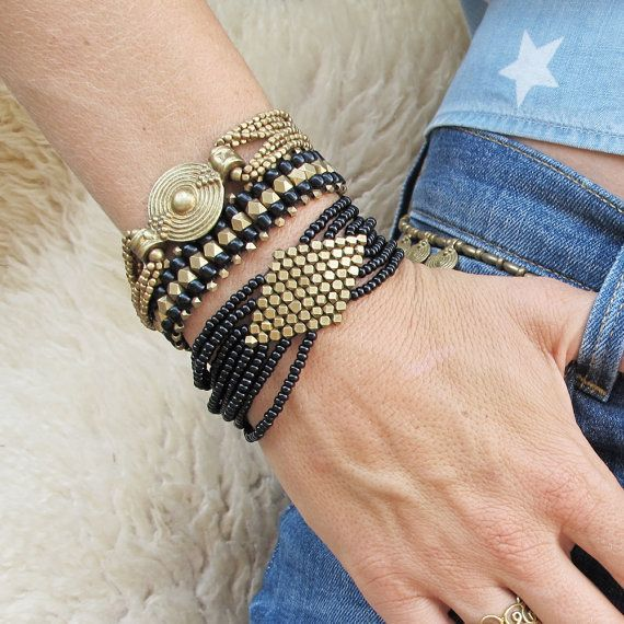Geometric Brass Bracelet Boho Bracelet Tribal Bracelet by Artjuna