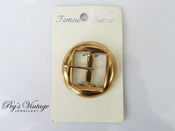 Vintage Gold Metal Belt Buckle/New Old Stock On by PegsVintageShop