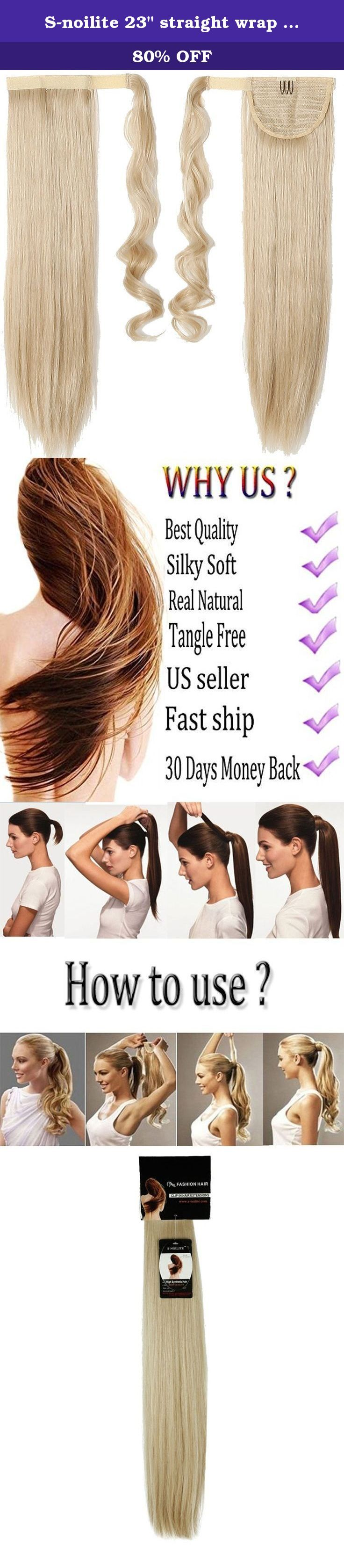 "S-noilite 23"" straight wrap around on ponytail clip in hair extensions pony tail synthetic hairpiece for women girls(dark blonde mix bleach blonde). This is a one piece wrap around on ponytail clip in hair extensions made from premium synthetic fibres, fashion style. There are one hair clip and side piece with velcro strap along the top for attaching around easily. You can fit them yourself in the mirror, and have them in and a new style ready to go in minutes. This item is ideal for..."
